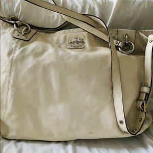 Large Ivory Leather Coach Tote